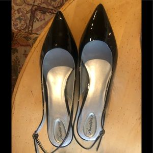 Trotters sling back patent leather black shoes 12
